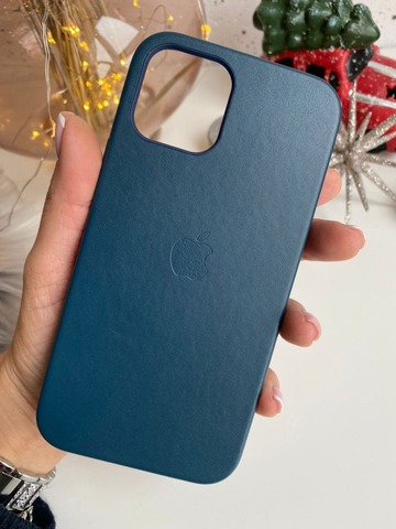 Чехол iPhone 12 Pro Max Leather Case with MagSafe /baltic blue/