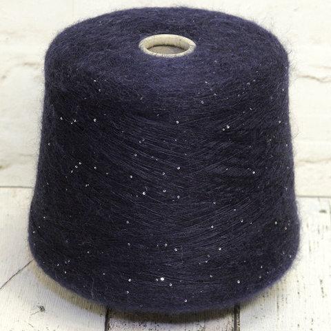 Мохер на шелке SESIA / PARISETTE 1860 темно-синий с пайетками