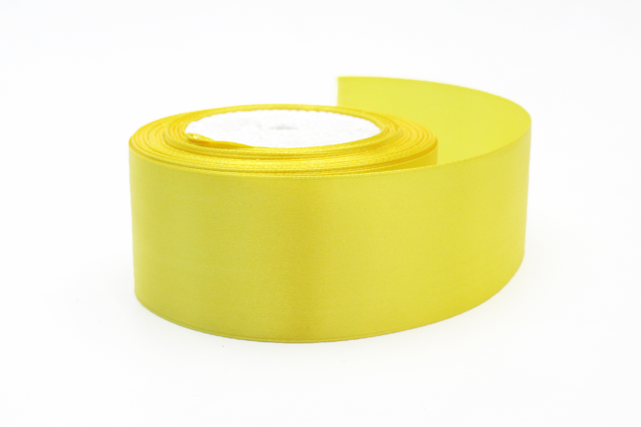 Лента атласная,5 см, ярко-желтый