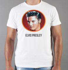 Футболка с принтом Элвис Пресли ( Elvis Presley) белая 0012