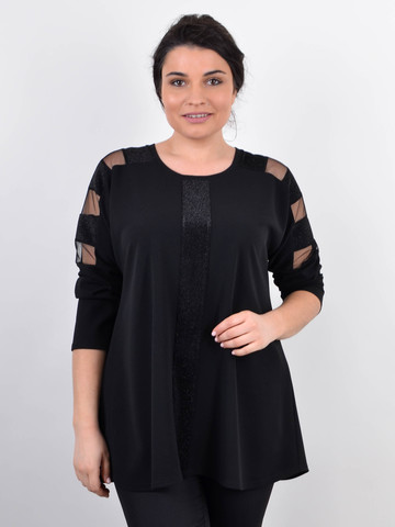 Лаура. Жіноча кофта великих розмірів з люрексом. Чорний.