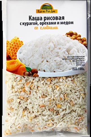 Каша рисовая с курагой, орехами и медом со сливками 'Здоровая еда', 100 г