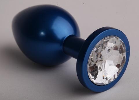 Анальная пробка металл 8,2 х 3,5см синяя с прозрачным стразом размер-S 47196-3-MM