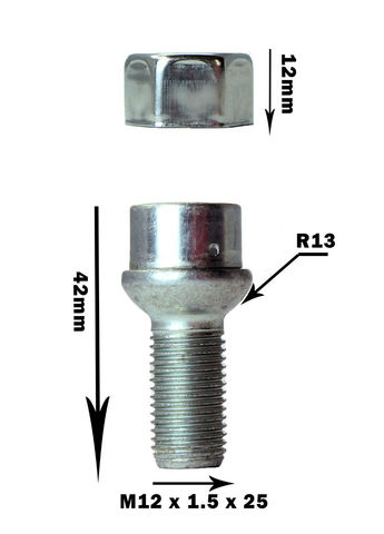 Секретные болты HEYNER Stil-Bull L2 M12x1.5 2 ключа