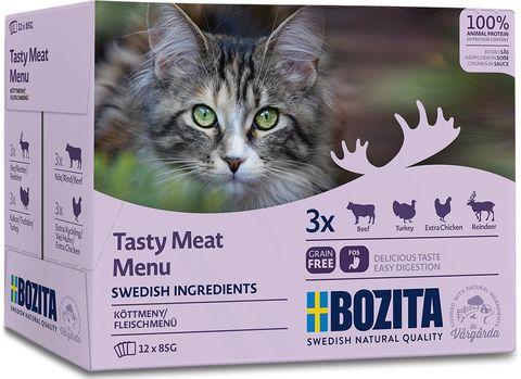 Bozita Pouch Meat in sauce Multibox Консервы для взрослых кошек мясной микс (говядина, индейка, курица, олень), кусочки в соусе