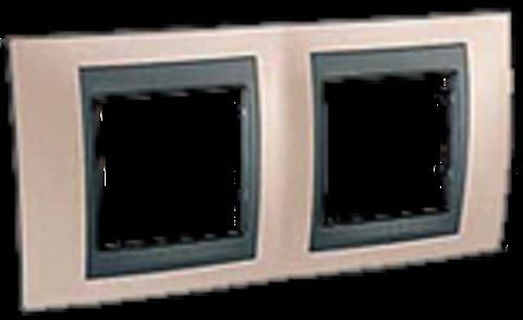 Рамка на 2 поста. Цвет Оникс-графит. Schneider electric Unica Top. MGU66.004.296
