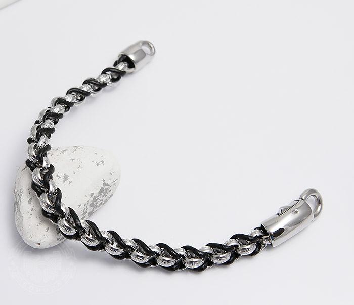 BM491 Мужской браслет цепь с необычными звеньями (22 см) фото 02