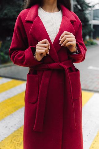 Бордовое пальто из кашемира Nadya