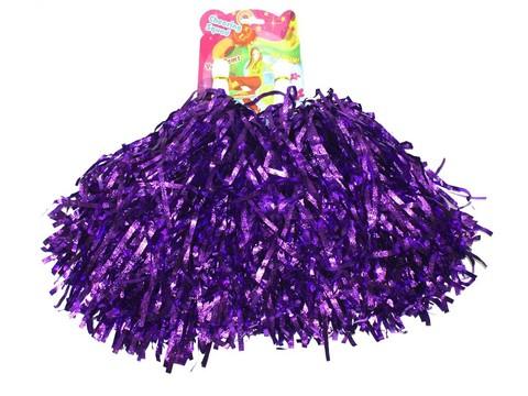 Помпоны для черлидинга металлизированные. Цвет фиолетовый. Ручка пластмассовая: длина 10 см, диаметр 2 см. SLB-40Ф