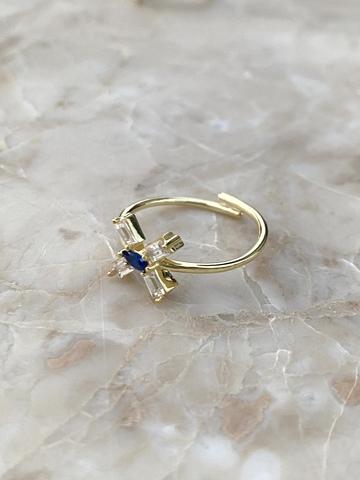 Кольцо из позолоченного серебра с синим цирконом