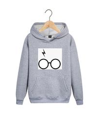Толстовка серая с капюшоном (худи, кенгуру) и принтом Гарри Поттер (Harry Potter) 001