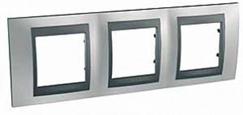 Рамка на 3 поста. Цвет Хром матовый-графит. Schneider electric Unica Top. MGU66.006.238