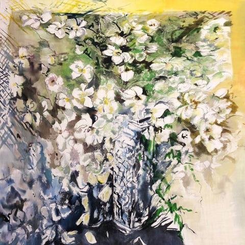 Шерстяной платок батик Белые цветы С-74-sh