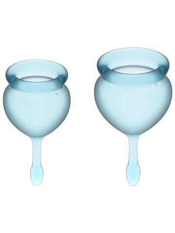 Feel Good Menstrual Cup Light Blue Набор менструальных чаш, 2шт,15 и 20 мл с хвостиком-капелькой