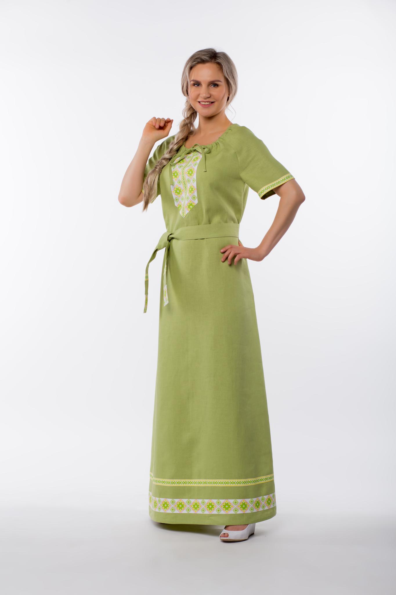 Платье льняное Папоротник вид сбоку