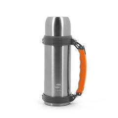 Термос Stinger, 1 л, широкий с ручкой, сталь, серебристый, оранжевые вставки