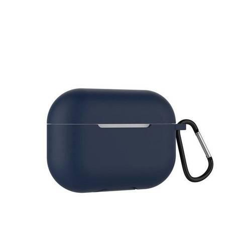 Чехол силиконовый с карабином для Apple Airpods Pro, тёмно-синий