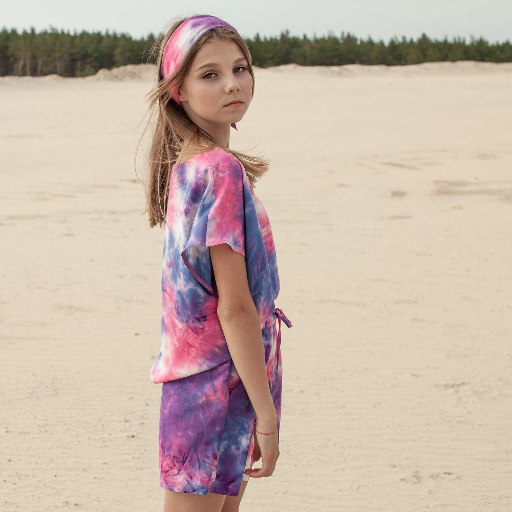 Дитячий літній костюм з шорт і футболки з авторським принтом «Tie-dye»