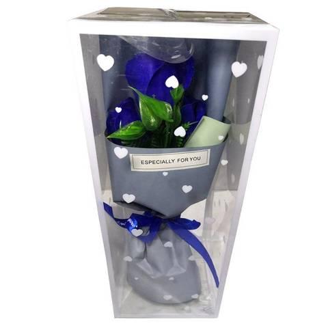 Букет из 3 мыльных роз на подставке синий
