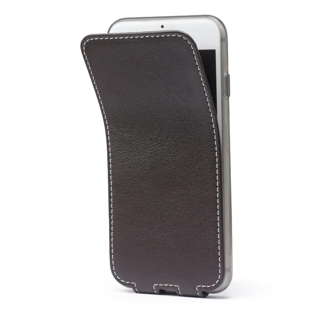 Чехол для iPhone 7 из натуральной кожи теленка, темно-коричневого цвета
