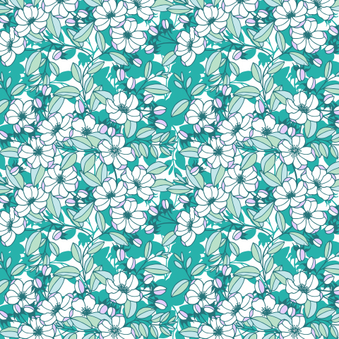 Seamless pattern of flowers, apple tree branches.