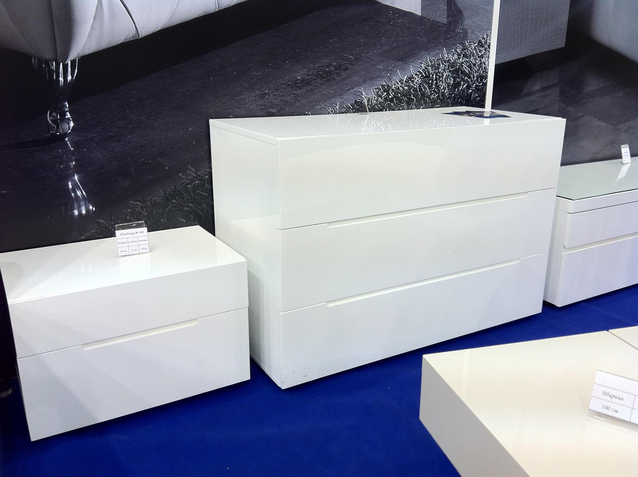 Комод горизонтальный DUPEN (Дюпен) C-100 белый и Тумба прикроватная DUPEN (Дюпен) М-100 белая