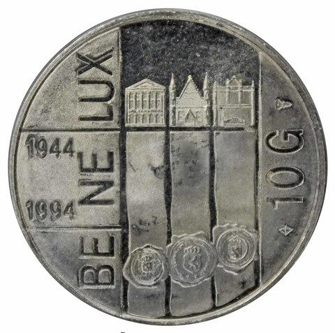 10 гульденов. 50 лет создания союза Бенилюкса, Нидерланды. 1994 год. Серебро. PROOF-LIKE