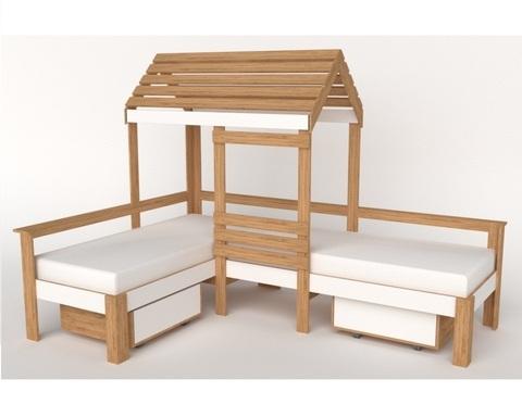 Кровать-домик АВАРА-4 с ящиками правая 1700-700 / 2552*1800*1832/