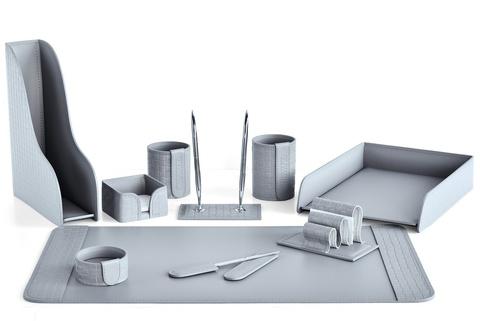Настольный набор 10 предметов из кожи Treccia/серый