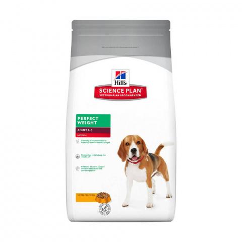Hill's Science Plan  сухой корм для собак склонных к набору веса, курицей Perfect Weight