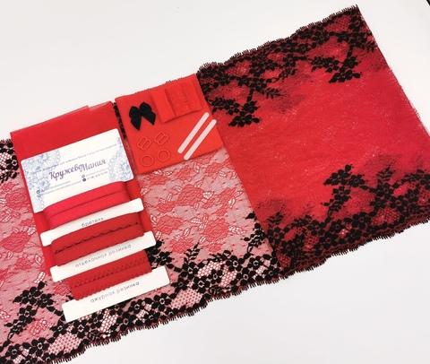 Набор 1. Минимальный: для пошива бра без каркасов и трусиков. Красный и черный (EK-1014), шт