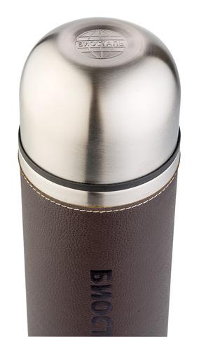 Термос Biostal Охота (1 литр) с кожаной вставкой, коричневый