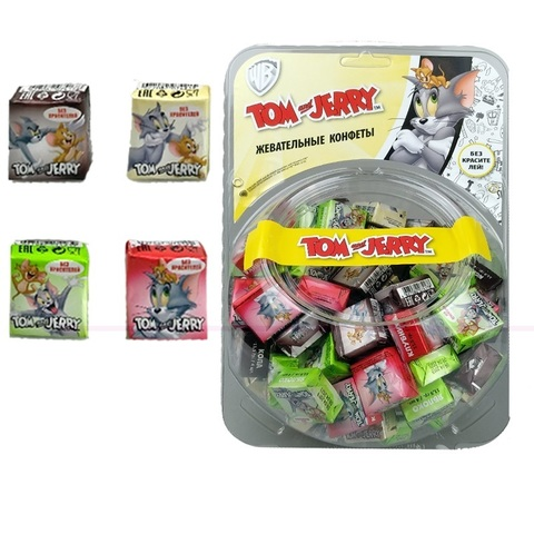 Том и Джерри конфеты жевательные Микс вкусов сфера 1кор*6бл*120шт 11,5гр