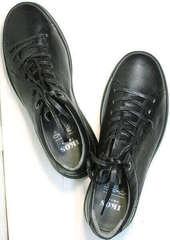 Низкие кеды кроссовки мужские кожаные черные демисезонные Ikoc 1725-1 Black.
