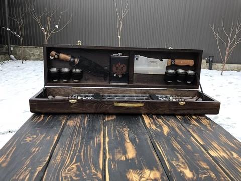 Набор шампуров в деревянной коробке №2