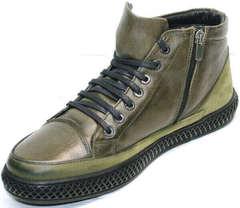 Стильные ботинки мужские зима осень Luciano Bellini BC2803 TL Khaki.