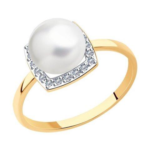 791208 - Кольцо из золота с жемчугом и фианитами