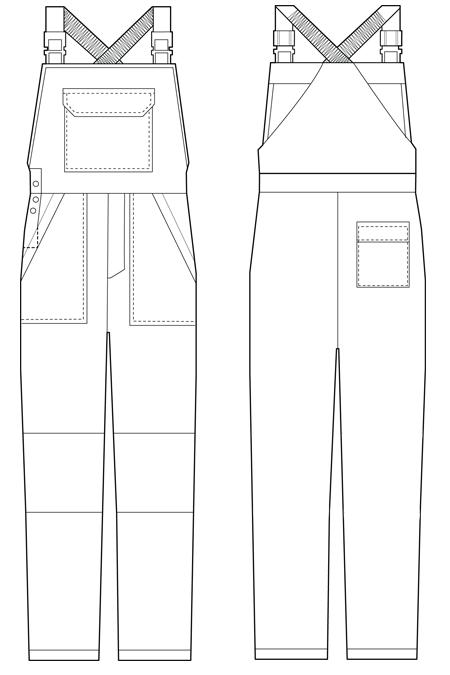 Выкройка рабочего костюма с полукомбинезоном тех рисунок