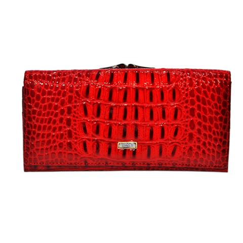 Красный кошелёк женский лаковый Coscet нат.кожа CS21-101B