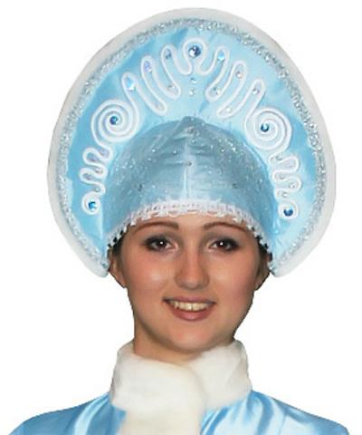 Кокошник Морозный рисунок голубой
