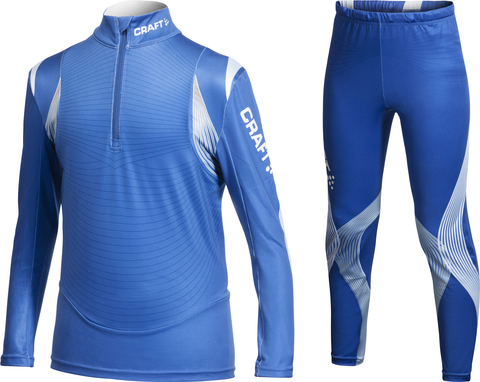Комбинезон лыжный Craft EXC CLUB детский (рубашка+тайтсы) синий