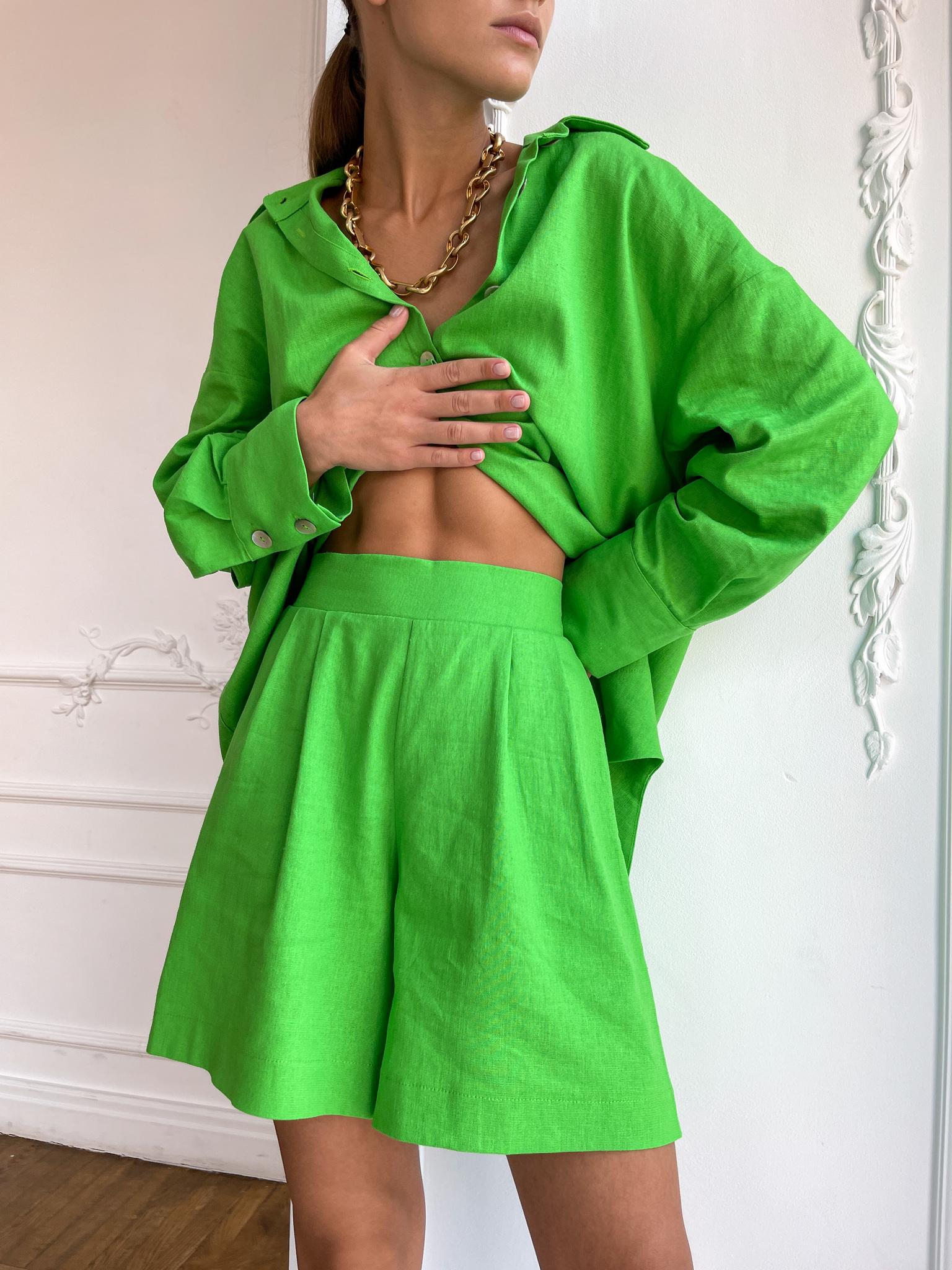 Шорты изо льна (ярко-зеленый)