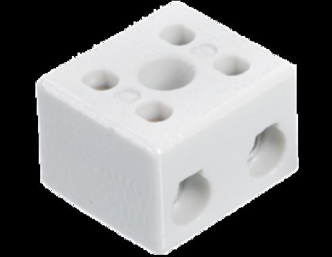 Высокотемпературная керамическая клемма 2 х 10,0 мм², с крепежным отверстием