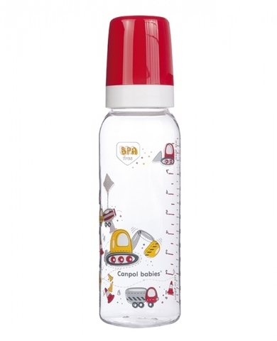 Бутылочка тритановая (BPA 0%) (11/848) с сил. Соской, 250 мл. 12+ Machines (красный)