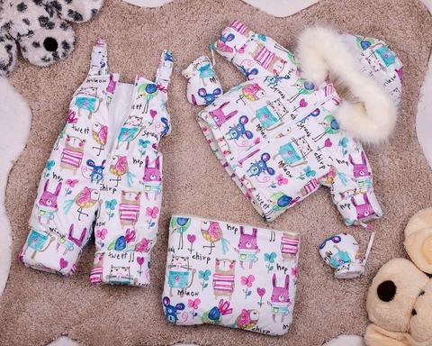 Зимний комбинезон тройка для новорожденных 0-2 года Look Зверушки розовые