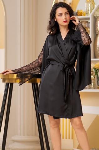 Короткий черный халат Mia Amore Корнелия