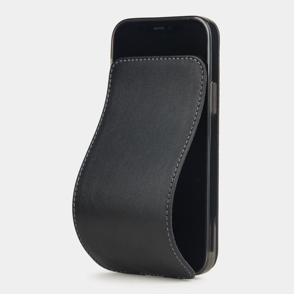 Чехол для iPhone 12/12Pro из натуральной кожи теленка, черного цвета