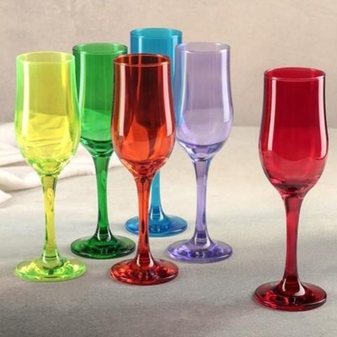 Набор из 6 бокалов для шампанского Радуга, 200 мл