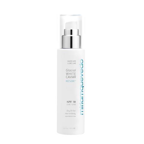 MIRIAM QUEVEDO   Сухое масло для волос и тела SPF30 / Glacial White Caviar Resort SPF30 Dry Oil For Hair and Body, (150 мл)