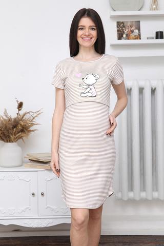 Сорочка для беременных и кормящих 12624 бежевый
